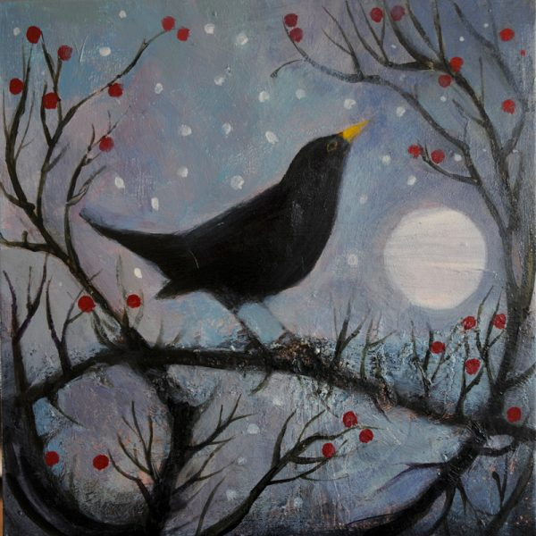 blackbird and moon