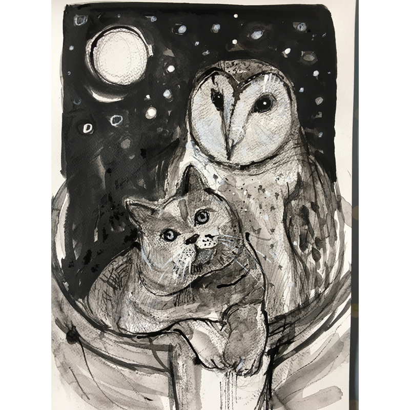 Owl and pussycat: print