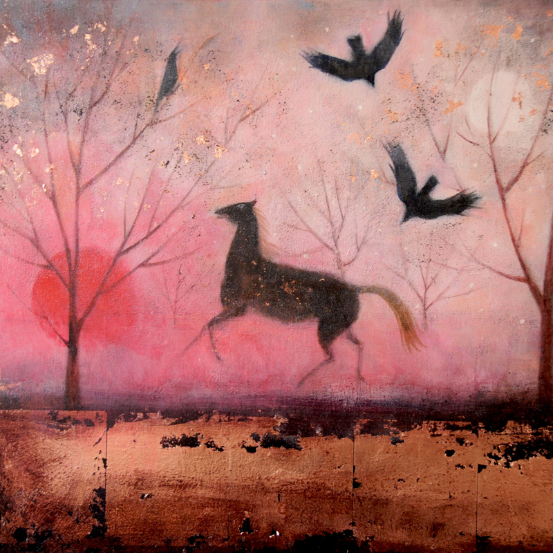 Crows song:Horse and crows at dawn painting