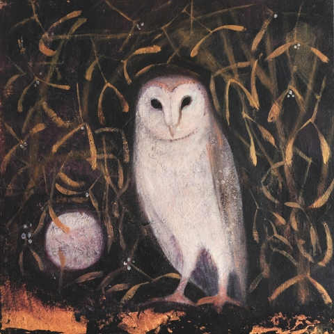 owl, mistletoe and moon painting