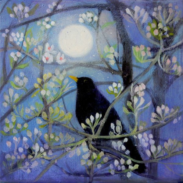 blackbird in blossom with moon