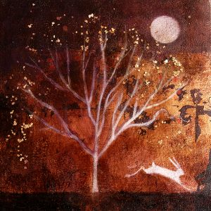 copper and acrylic tree, hare and moon