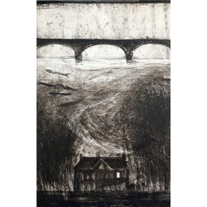 Clayboard painting of Elan Valley Dams and the houses lost beneath