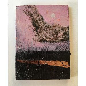 acrylic on panel with copper leaf