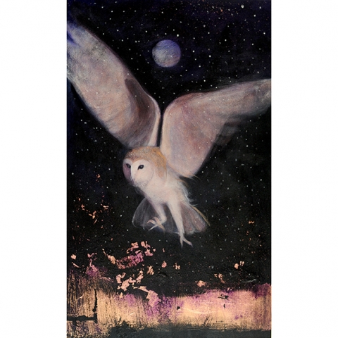 owl hunting painting with copper leaf