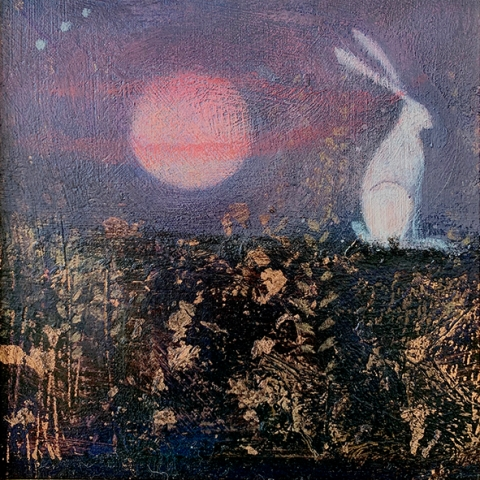 white hare and pink moon
