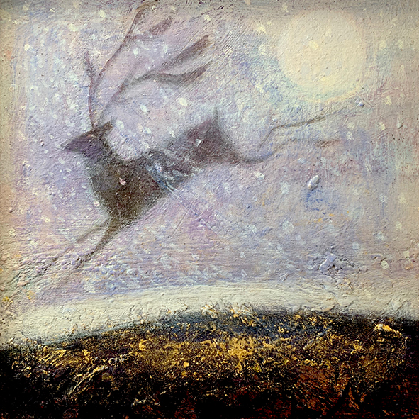 stag with full moon snow