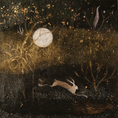 hare, moon, river