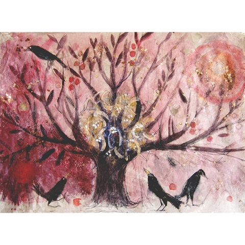 apple tree and crows