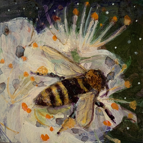 bee painting on panel