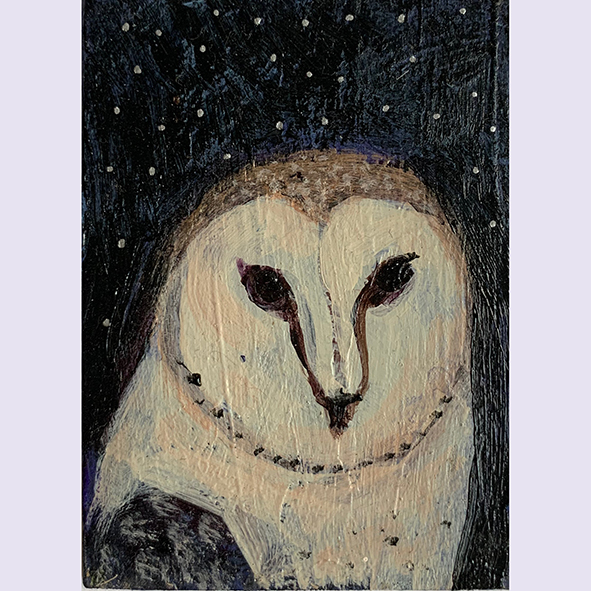 Owl face: painting
