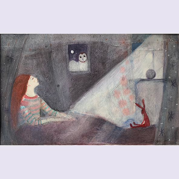 The owl at the window: painting