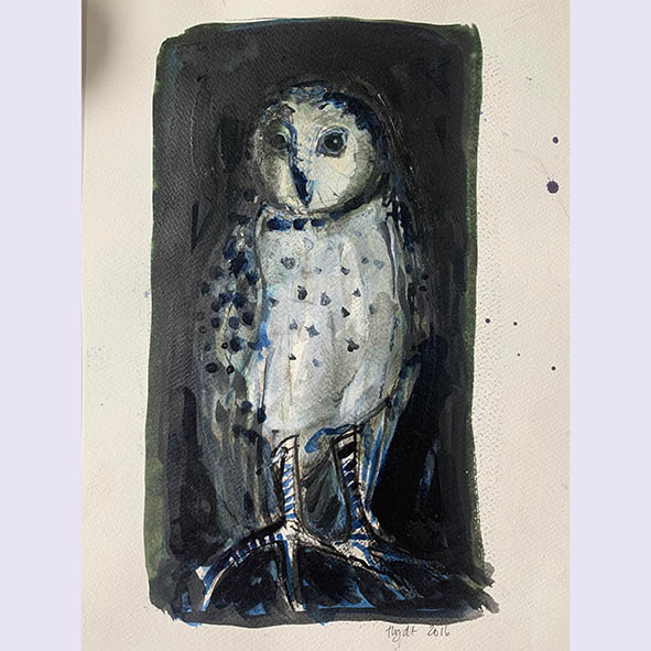 Owl, waiting: painting