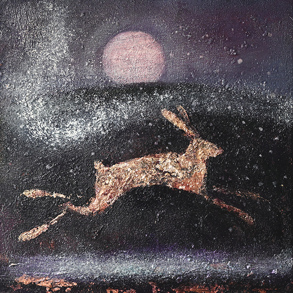 Hare and snow: print